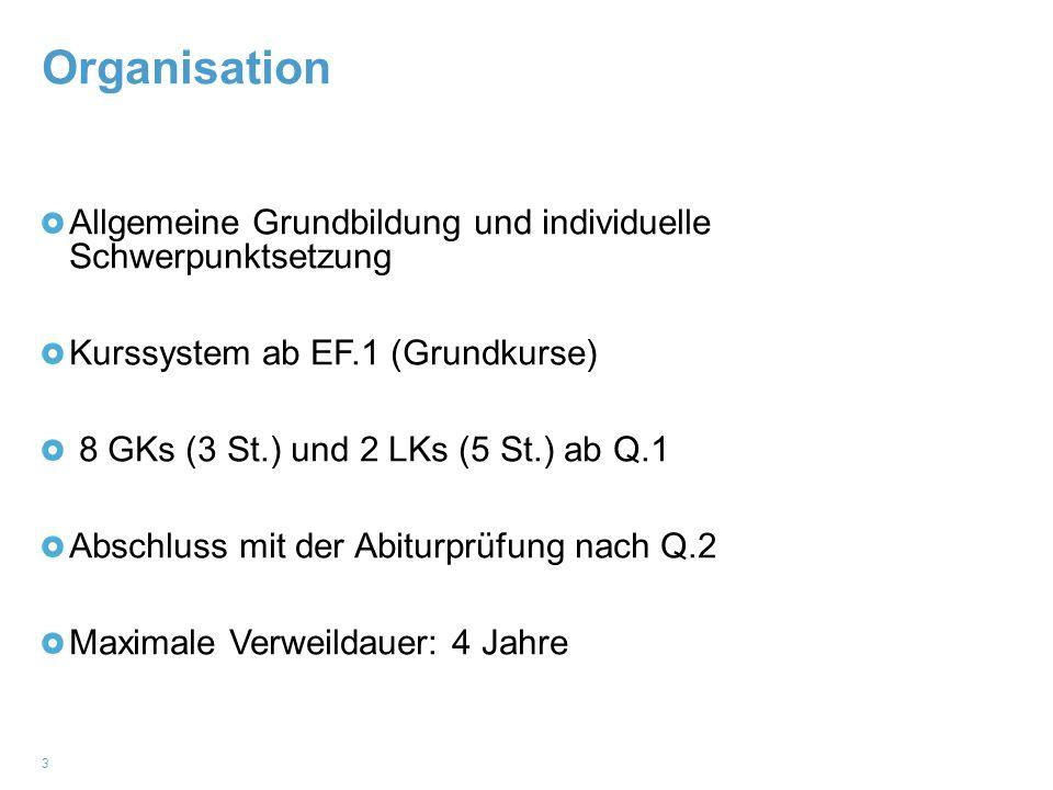 Organisation 3 Allgemeine Grundbildung und individuelle Schwerpunktsetzung Kurssystem ab EF.1 (Grundkurse) 8 GKs (3 St.) und 2 LKs (5 St.) ab Q.1 Absc