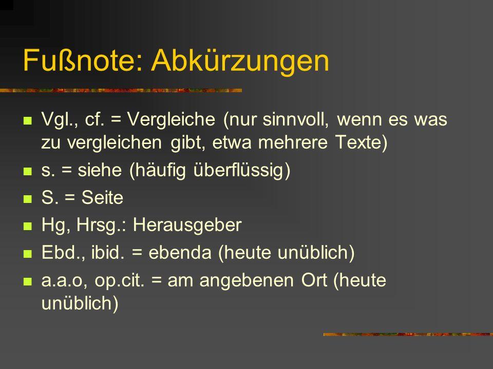 Fußnote: Abkürzungen Vgl., cf.