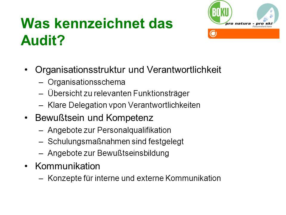 Was kennzeichnet das Audit? Organisationsstruktur und Verantwortlichkeit –Organisationsschema –Übersicht zu relevanten Funktionsträger –Klare Delegati
