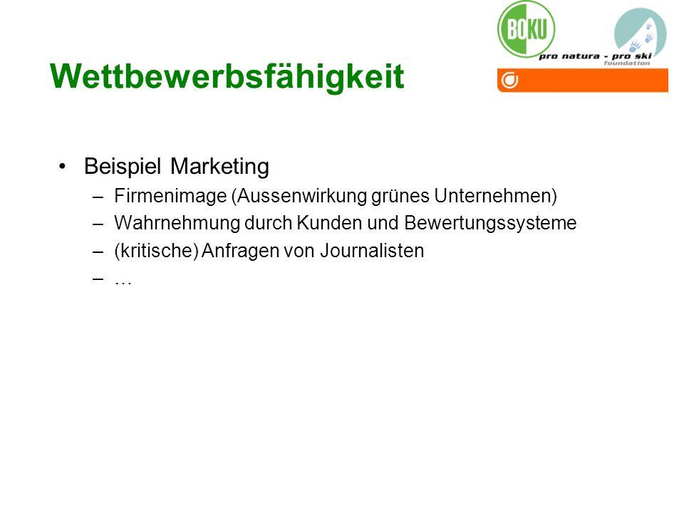 Wettbewerbsfähigkeit Beispiel Marketing –Firmenimage (Aussenwirkung grünes Unternehmen) –Wahrnehmung durch Kunden und Bewertungssysteme –(kritische) A