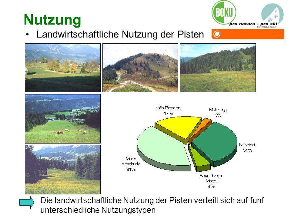 Nutzung Landwirtschaftliche Nutzung der Pisten Die landwirtschaftliche Nutzung der Pisten verteilt sich auf fünf unterschiedliche Nutzungstypen