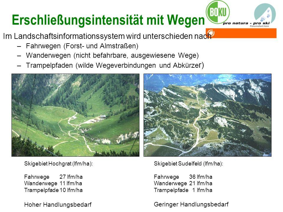 Erschließungsintensität mit Wegen Im Landschaftsinformationssystem wird unterschieden nach –Fahrwegen (Forst- und Almstraßen) –Wanderwegen (nicht befa