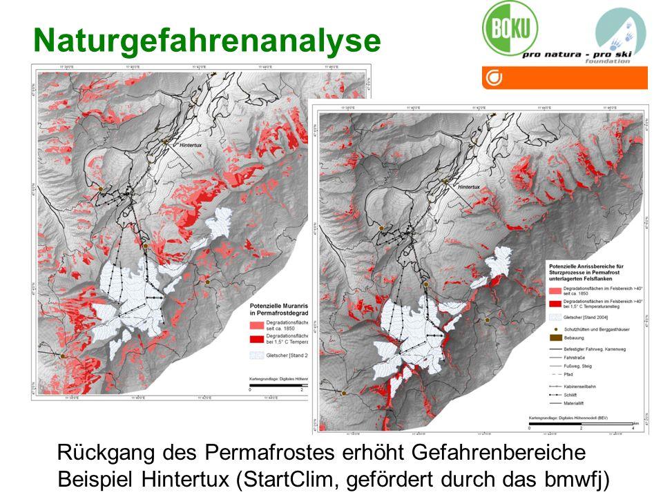 05.01.201423 Naturgefahrenanalyse Rückgang des Permafrostes erhöht Gefahrenbereiche Beispiel Hintertux (StartClim, gefördert durch das bmwfj)