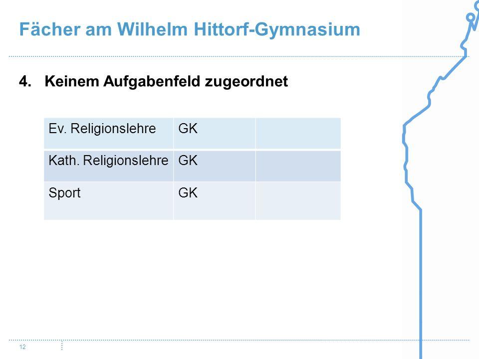 Fächer am Wilhelm Hittorf-Gymnasium 12 4. Keinem Aufgabenfeld zugeordnet Ev. ReligionslehreGK Kath. ReligionslehreGK SportGK