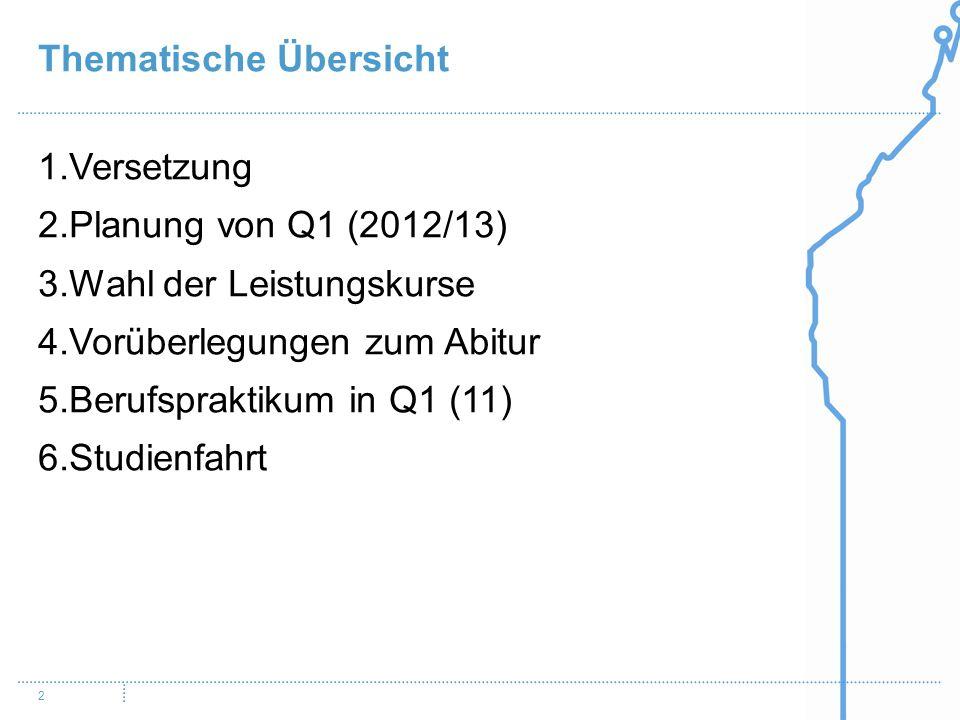2 1.Versetzung 2.Planung von Q1 (2012/13) 3.Wahl der Leistungskurse 4.Vorüberlegungen zum Abitur 5.Berufspraktikum in Q1 (11) 6.Studienfahrt Thematische Übersicht