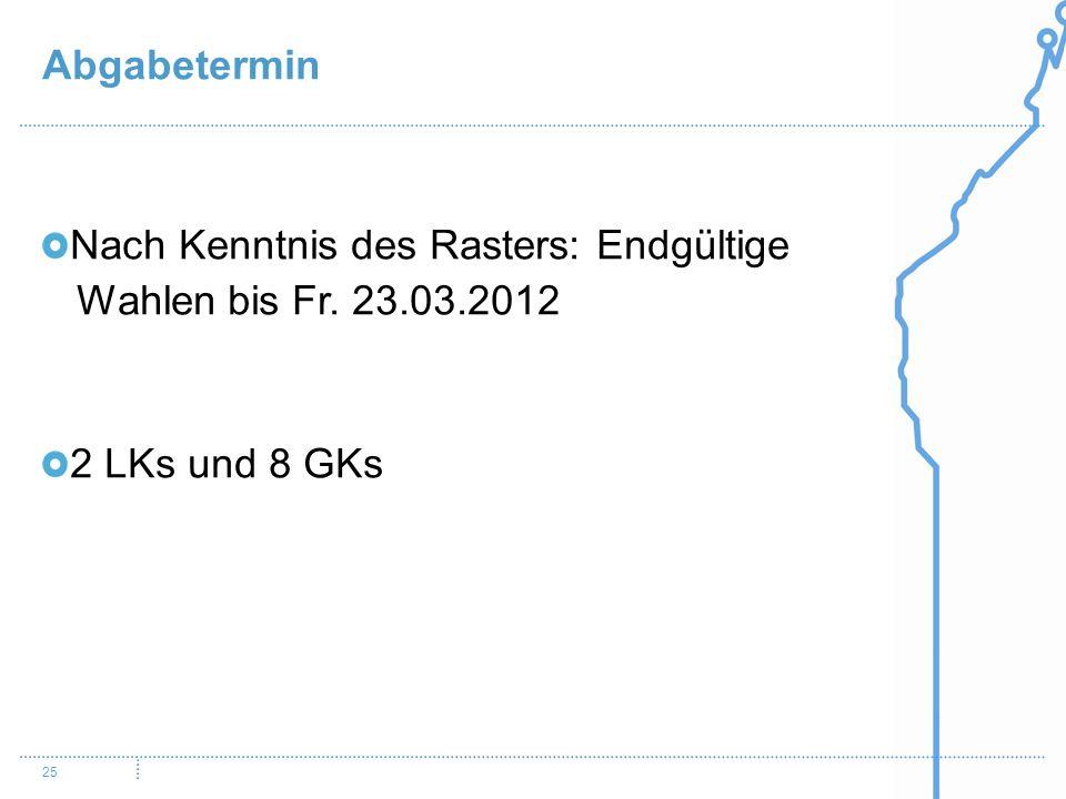 Abgabetermin 25 Nach Kenntnis des Rasters: Endgültige Wahlen bis Fr. 23.03.2012 2 LKs und 8 GKs