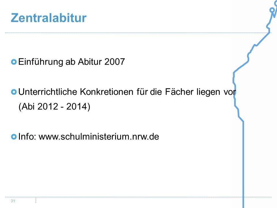 Zentralabitur 31 Einführung ab Abitur 2007 Unterrichtliche Konkretionen für die Fächer liegen vor (Abi 2012 - 2014) Info: www.schulministerium.nrw.de