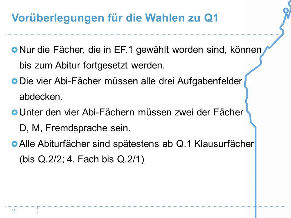 Vorüberlegungen für die Wahlen zu Q1 13 Nur die Fächer, die in EF.1 gewählt worden sind, können bis zum Abitur fortgesetzt werden. Die vier Abi-Fächer