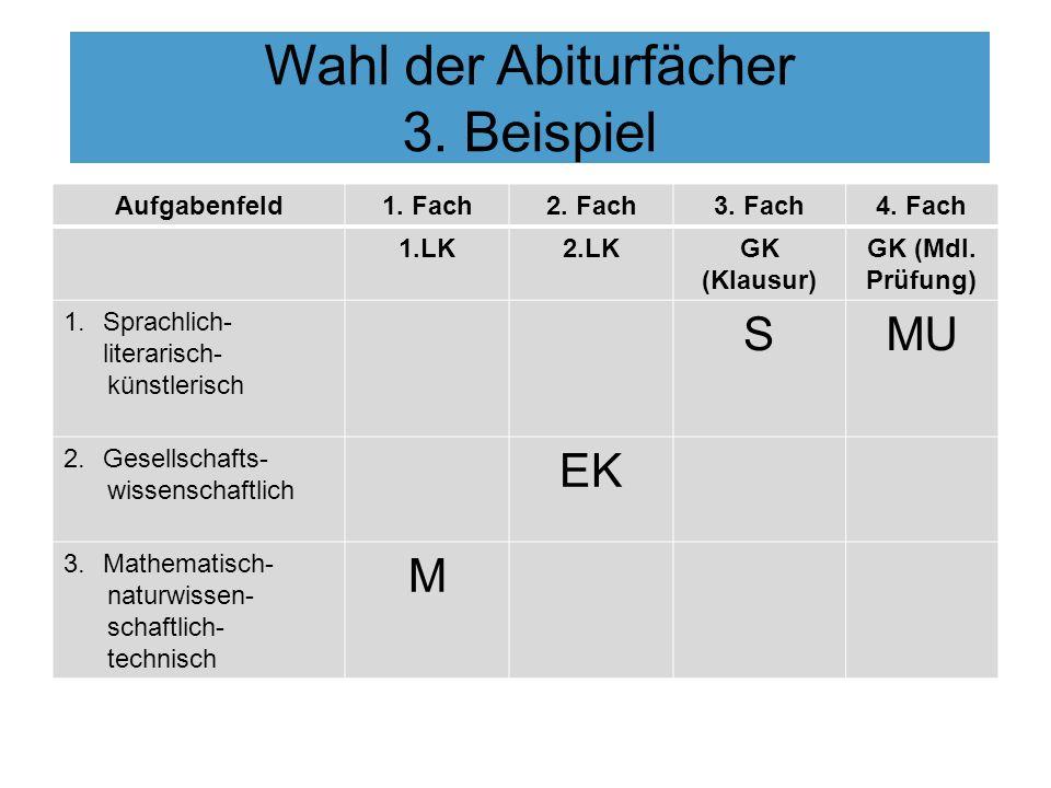 Wahl der Abiturfächer 3. Beispiel Aufgabenfeld1. Fach2. Fach3. Fach4. Fach 1.LK2.LKGK (Klausur) GK (Mdl. Prüfung) 1.Sprachlich- literarisch- künstleri
