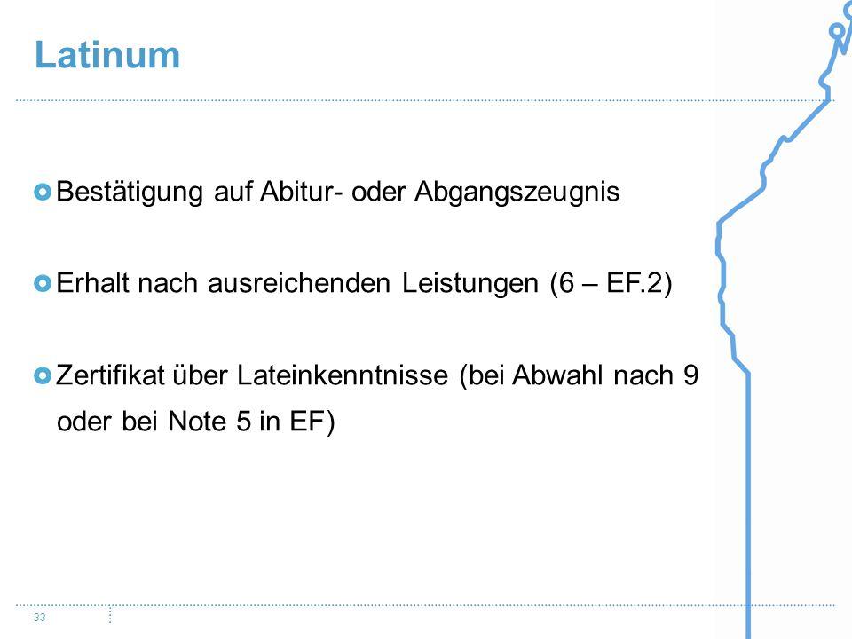 Latinum 33 Bestätigung auf Abitur- oder Abgangszeugnis Erhalt nach ausreichenden Leistungen (6 – EF.2) Zertifikat über Lateinkenntnisse (bei Abwahl nach 9 oder bei Note 5 in EF)