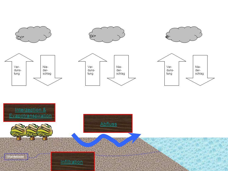 Nie- der- schlag Ver- duns- tung Nie- der- schlag Ver- duns- tung Grundwasser Infiltration Abfluss Interzeption & Evapotranspiration Nie- der- schlag