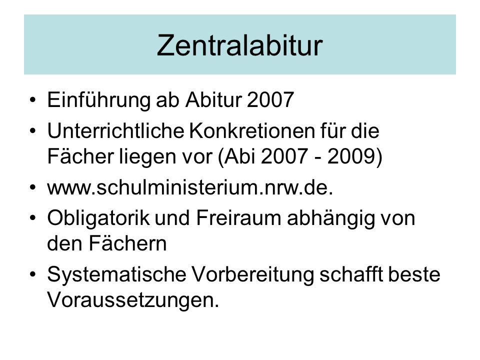 Zentralabitur Einführung ab Abitur 2007 Unterrichtliche Konkretionen für die Fächer liegen vor (Abi 2007 - 2009) www.schulministerium.nrw.de. Obligato