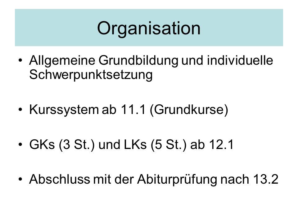 Organisation Allgemeine Grundbildung und individuelle Schwerpunktsetzung Kurssystem ab 11.1 (Grundkurse) GKs (3 St.) und LKs (5 St.) ab 12.1 Abschluss