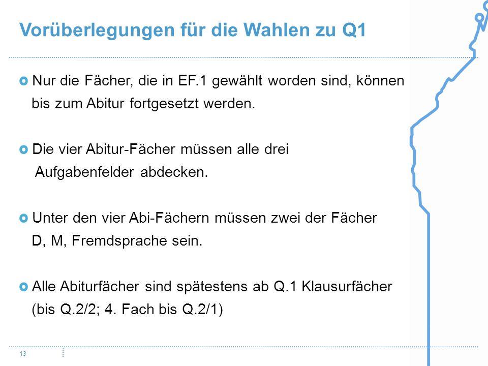 Vorüberlegungen für die Wahlen zu Q1 13 Nur die Fächer, die in EF.1 gewählt worden sind, können bis zum Abitur fortgesetzt werden. Die vier Abitur-Fäc