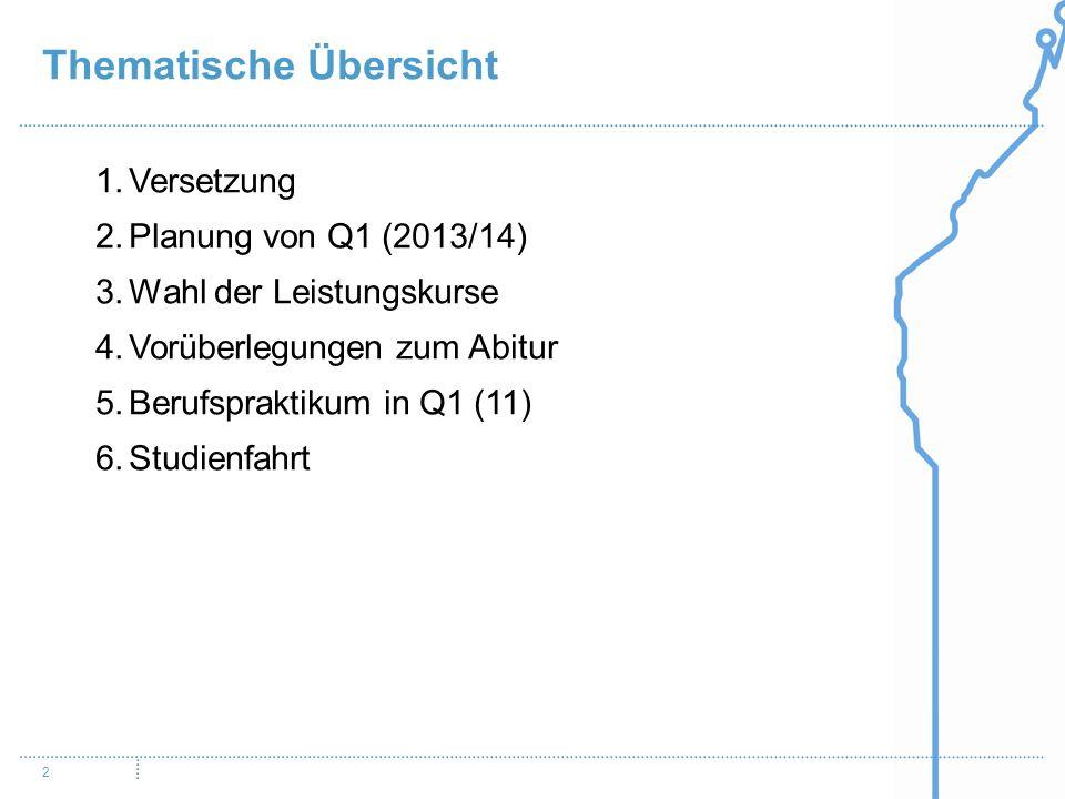 2 1.Versetzung 2.Planung von Q1 (2013/14) 3.Wahl der Leistungskurse 4.Vorüberlegungen zum Abitur 5.Berufspraktikum in Q1 (11) 6.Studienfahrt Thematisc
