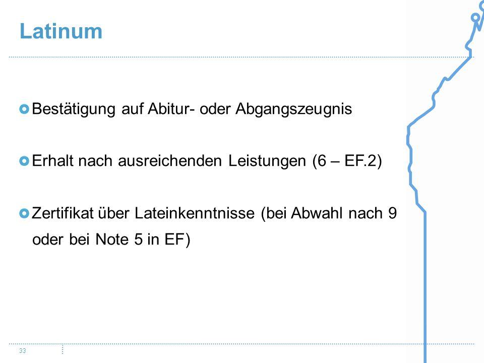 Latinum 33 Bestätigung auf Abitur- oder Abgangszeugnis Erhalt nach ausreichenden Leistungen (6 – EF.2) Zertifikat über Lateinkenntnisse (bei Abwahl na