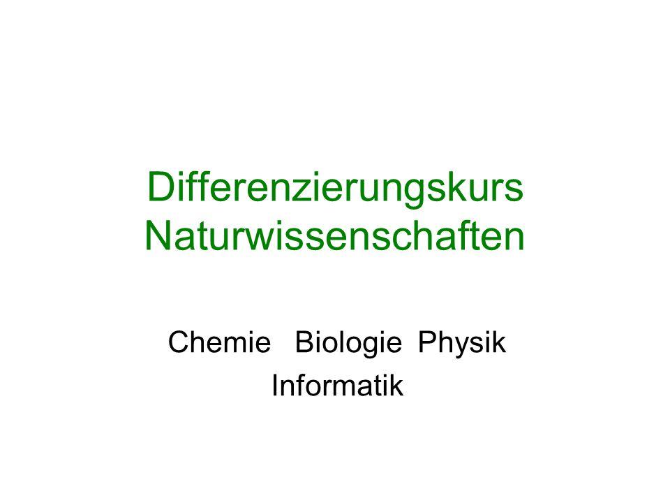 Differenzierungskurs Naturwissenschaften Chemie Biologie Physik Informatik