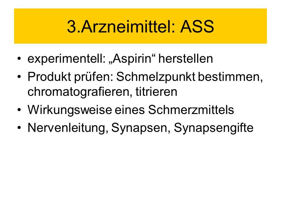 3.Arzneimittel: ASS experimentell: Aspirin herstellen Produkt prüfen: Schmelzpunkt bestimmen, chromatografieren, titrieren Wirkungsweise eines Schmerz