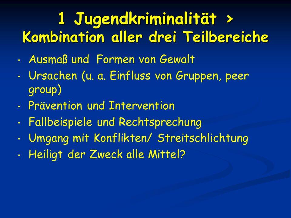 1 Jugendkriminalität > Kombination aller drei Teilbereiche Ausmaß und Formen von Gewalt Ursachen (u. a. Einfluss von Gruppen, peer group) Prävention u