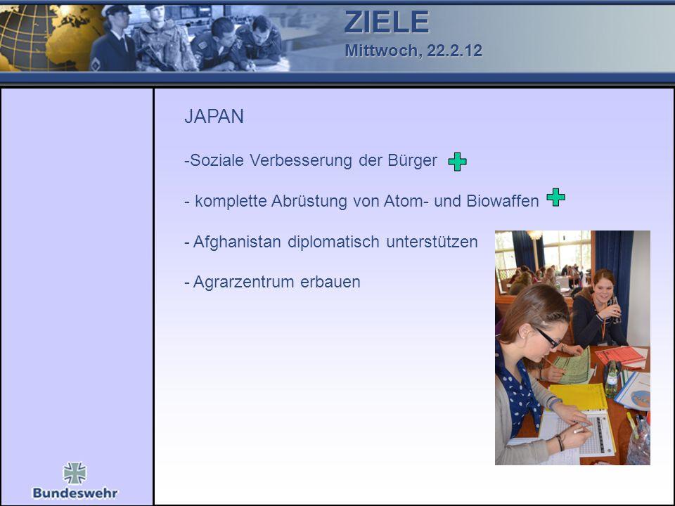 ZIELE Mittwoch, 22.2.12 JAPAN -Soziale Verbesserung der Bürger - komplette Abrüstung von Atom- und Biowaffen - Afghanistan diplomatisch unterstützen - Agrarzentrum erbauen