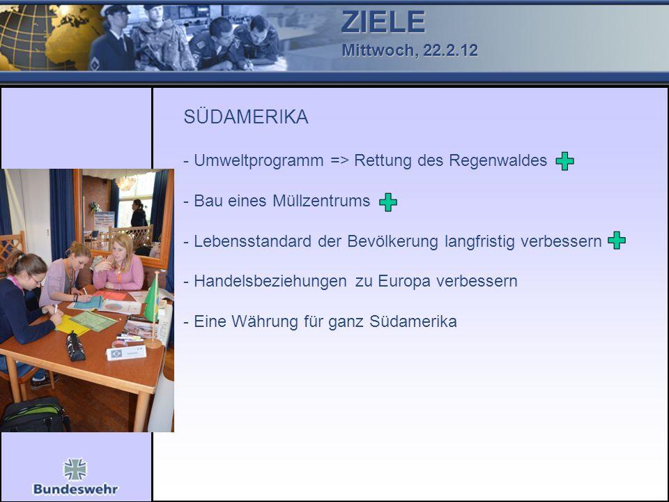 ZIELE Mittwoch, 22.2.12 SÜDAMERIKA - Umweltprogramm => Rettung des Regenwaldes - Bau eines Müllzentrums - Lebensstandard der Bevölkerung langfristig v