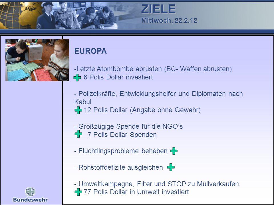 ZIELE Mittwoch, 22.2.12 EUROPA -Letzte Atombombe abrüsten (BC- Waffen abrüsten) 6 Polis Dollar investiert - Polizeikräfte, Entwicklungshelfer und Dipl