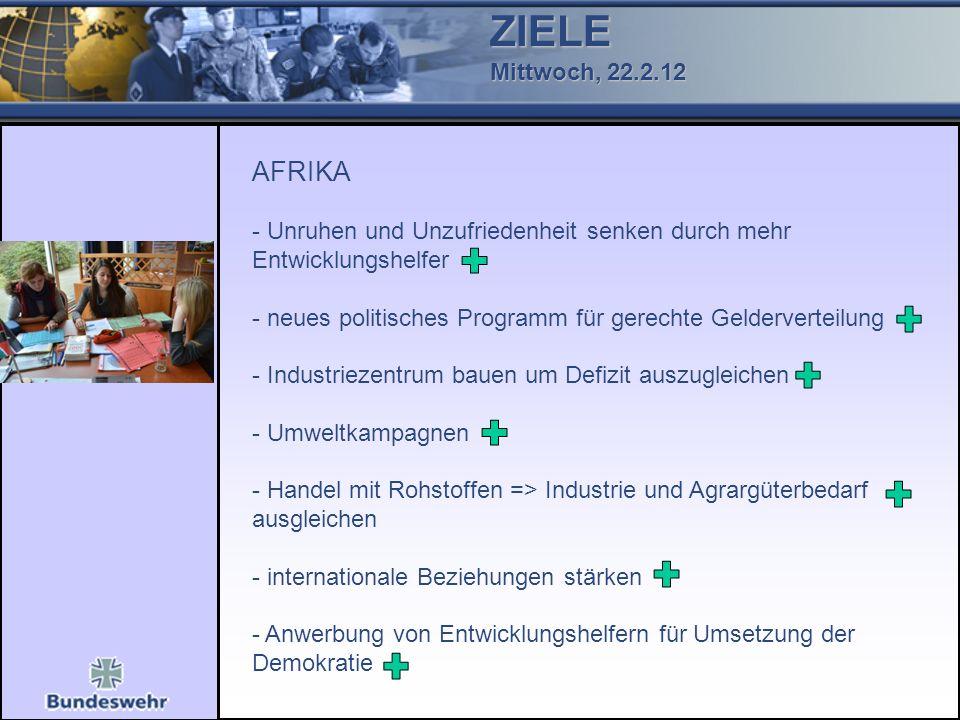 ZIELE Mittwoch, 22.2.12 AFRIKA - Unruhen und Unzufriedenheit senken durch mehr Entwicklungshelfer - neues politisches Programm für gerechte Geldervert