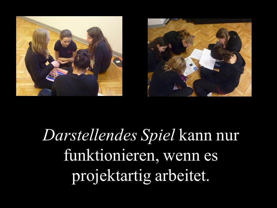 Das Arbeiten im Fach Darstellendes Spiel besteht aus den Elementen: Üben und Wahrnehmen (an sich selbst und anderen), Reflektieren und Darstellen.