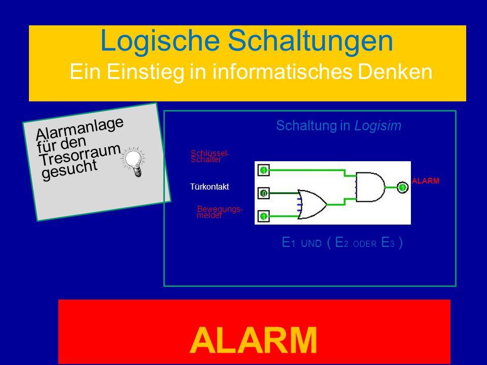 Logische Schaltungen Ein Einstieg in informatisches Denken Alarmanlage für den Tresorraum gesucht Schaltung in Logisim ALARM Schlüssel- Schalter Türko