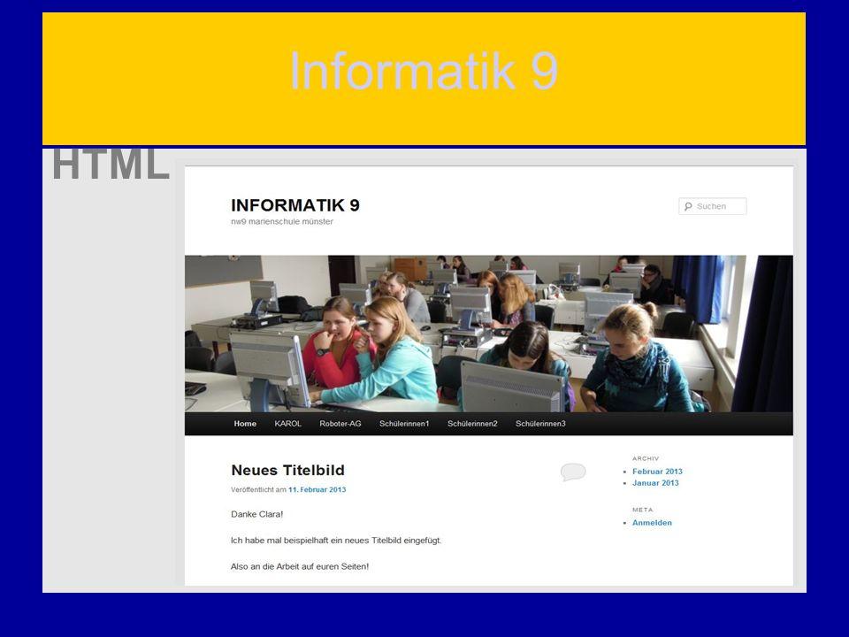 Informatik 9 HTML