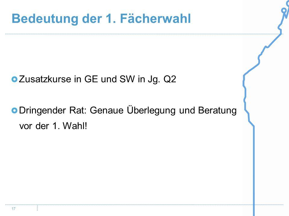 Bedeutung der 1. Fächerwahl 17 Zusatzkurse in GE und SW in Jg. Q2 Dringender Rat: Genaue Überlegung und Beratung vor der 1. Wahl!
