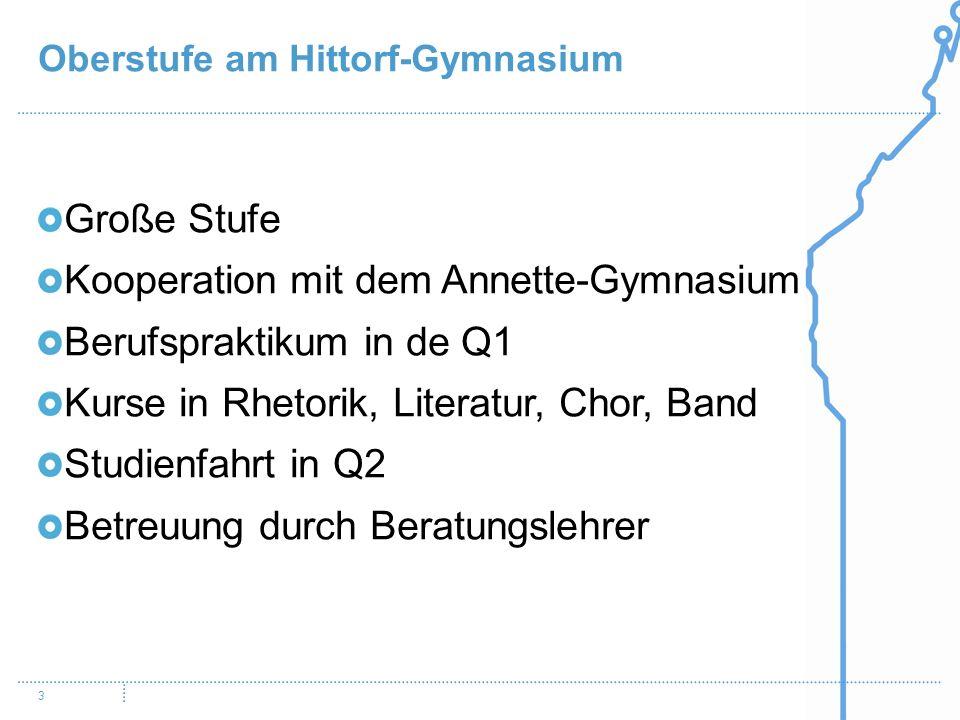 Oberstufe am Hittorf-Gymnasium 3 Große Stufe Kooperation mit dem Annette-Gymnasium Berufspraktikum in de Q1 Kurse in Rhetorik, Literatur, Chor, Band S
