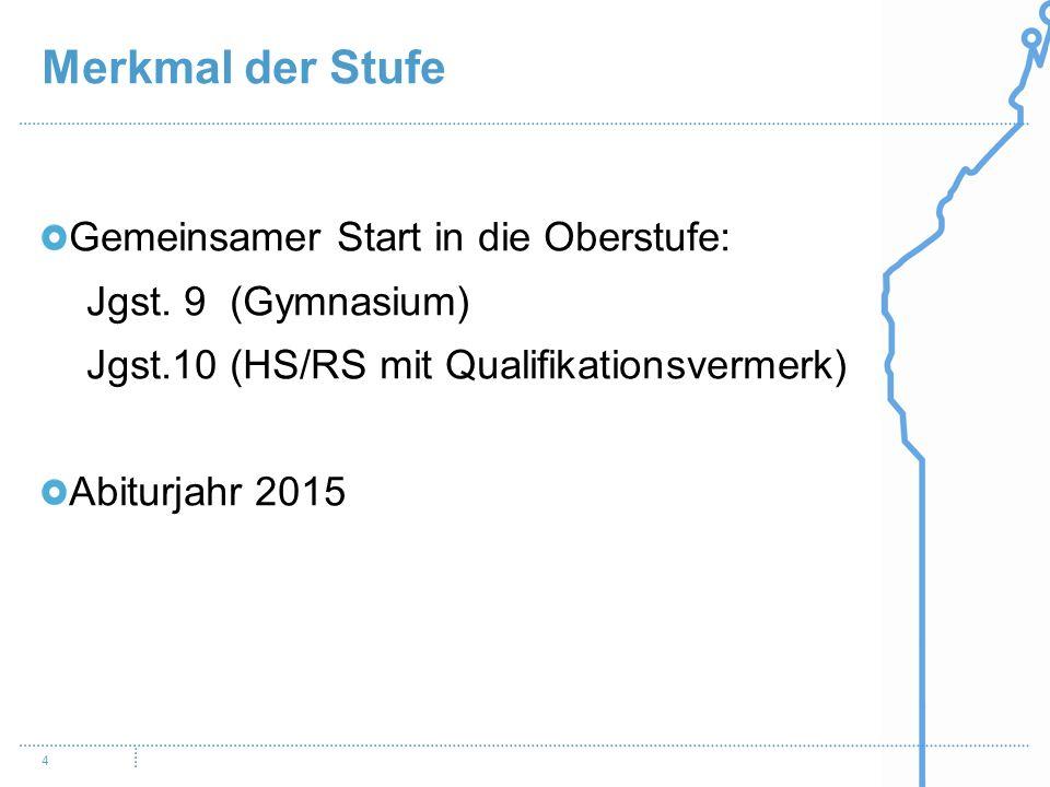 Merkmal der Stufe 4 Gemeinsamer Start in die Oberstufe: Jgst. 9 (Gymnasium) Jgst.10 (HS/RS mit Qualifikationsvermerk) Abiturjahr 2015