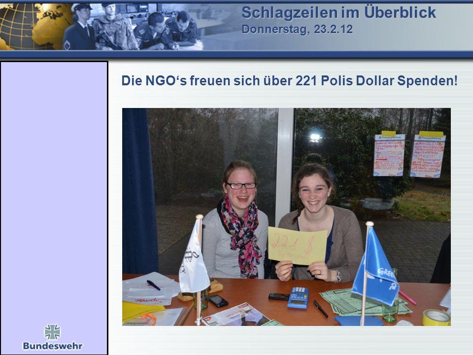 Schlagzeilen im Überblick Donnerstag, 23.2.12 Die NGOs freuen sich über 221 Polis Dollar Spenden!