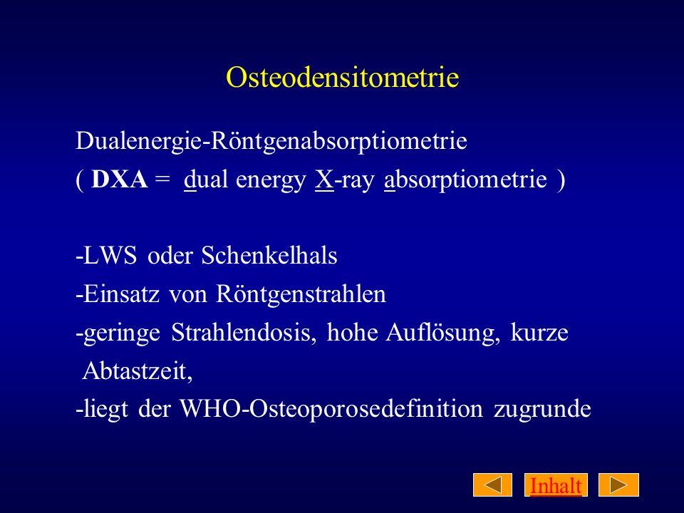 Inhalt WHO-Definition der Osteoporose Verringerung der mittels DXA bestimmten Knochendichte um mehr als -2,5 SD unter der gesunder junger Personen (= T-Score <-2,5)
