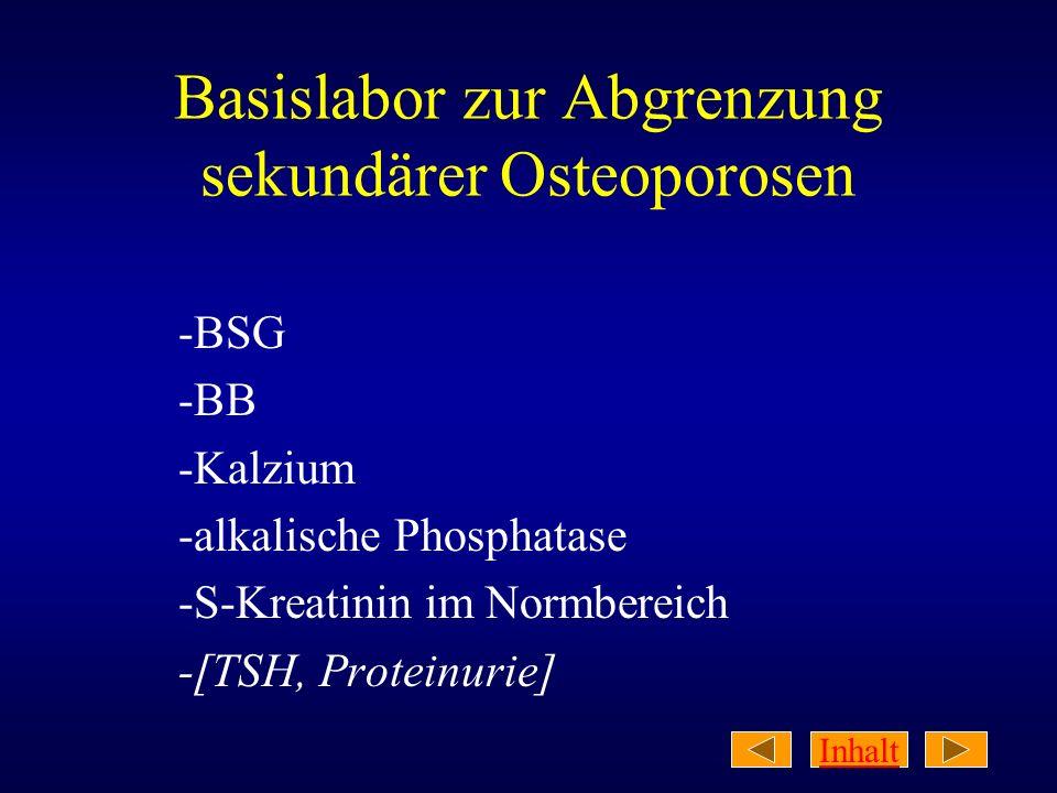 Inhalt Basislabor zur Abgrenzung sekundärer Osteoporosen -BSG -BB -Kalzium -alkalische Phosphatase -S-Kreatinin im Normbereich -[TSH, Proteinurie]