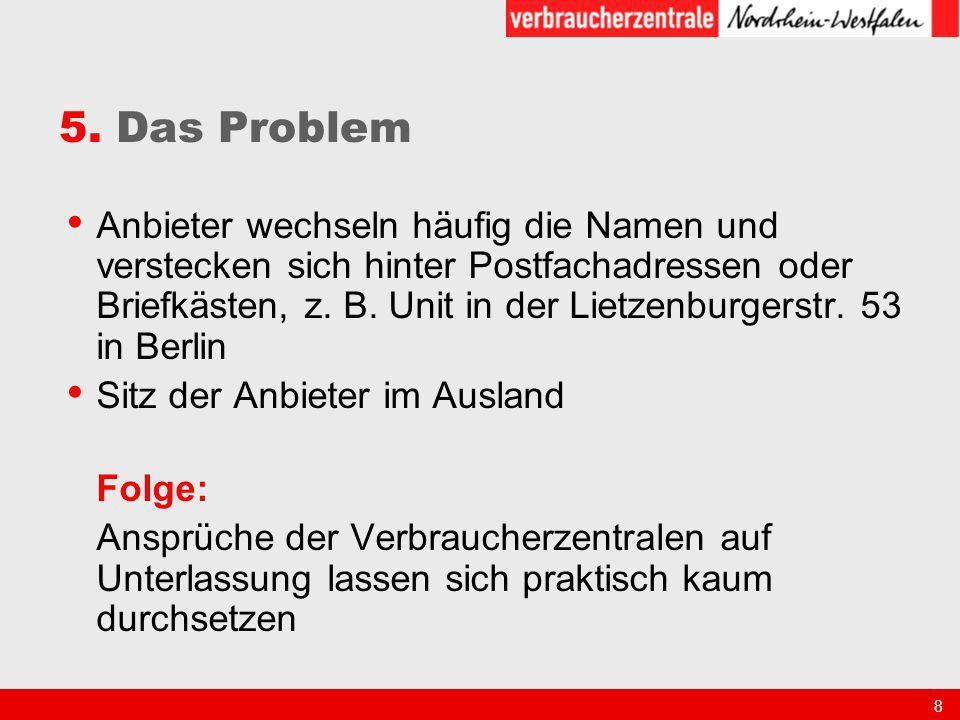 8 5. Das Problem Anbieter wechseln häufig die Namen und verstecken sich hinter Postfachadressen oder Briefkästen, z. B. Unit in der Lietzenburgerstr.