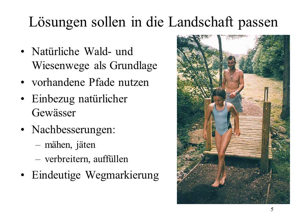 5 Lösungen sollen in die Landschaft passen Natürliche Wald- und Wiesenwege als Grundlage vorhandene Pfade nutzen Einbezug natürlicher Gewässer Nachbes