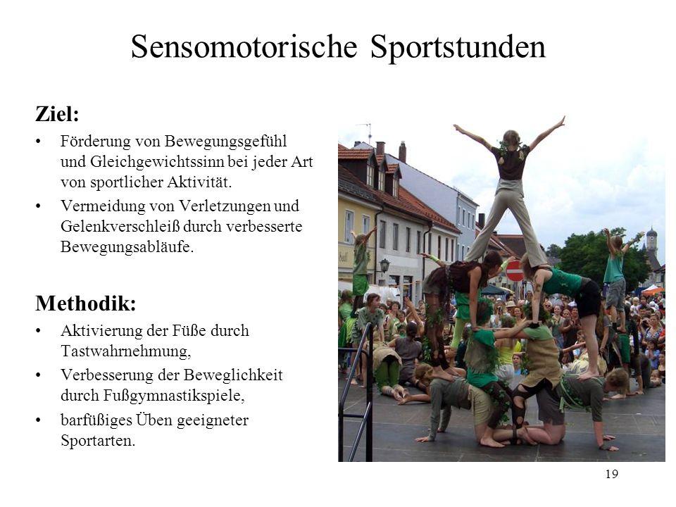 19 Sensomotorische Sportstunden Ziel: Förderung von Bewegungsgefühl und Gleichgewichtssinn bei jeder Art von sportlicher Aktivität. Vermeidung von Ver