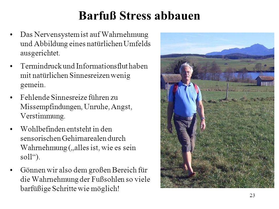 23 Barfuß Stress abbauen Das Nervensystem ist auf Wahrnehmung und Abbildung eines natürlichen Umfelds ausgerichtet. Termindruck und Informationsflut h