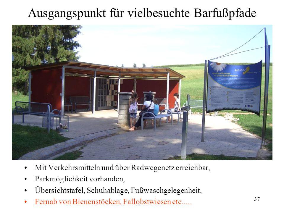 37 Ausgangspunkt für vielbesuchte Barfußpfade Mit Verkehrsmitteln und über Radwegenetz erreichbar, Parkmöglichkeit vorhanden, Übersichtstafel, Schuhab