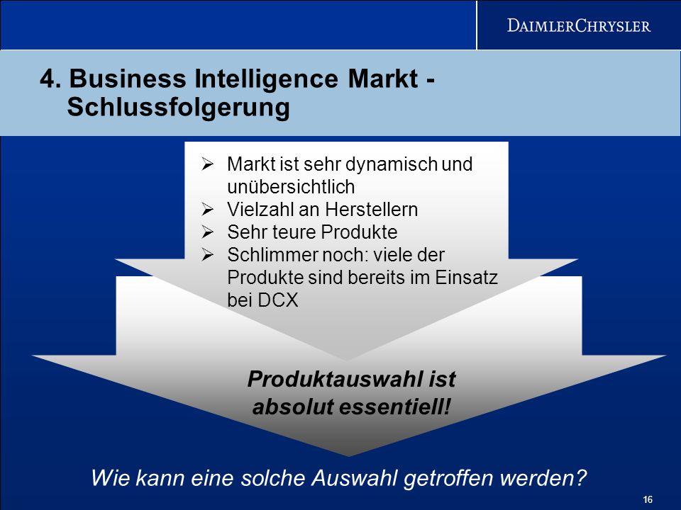 16 4. Business Intelligence Markt - Schlussfolgerung Wie kann eine solche Auswahl getroffen werden? Produktauswahl ist absolut essentiell! Markt ist s