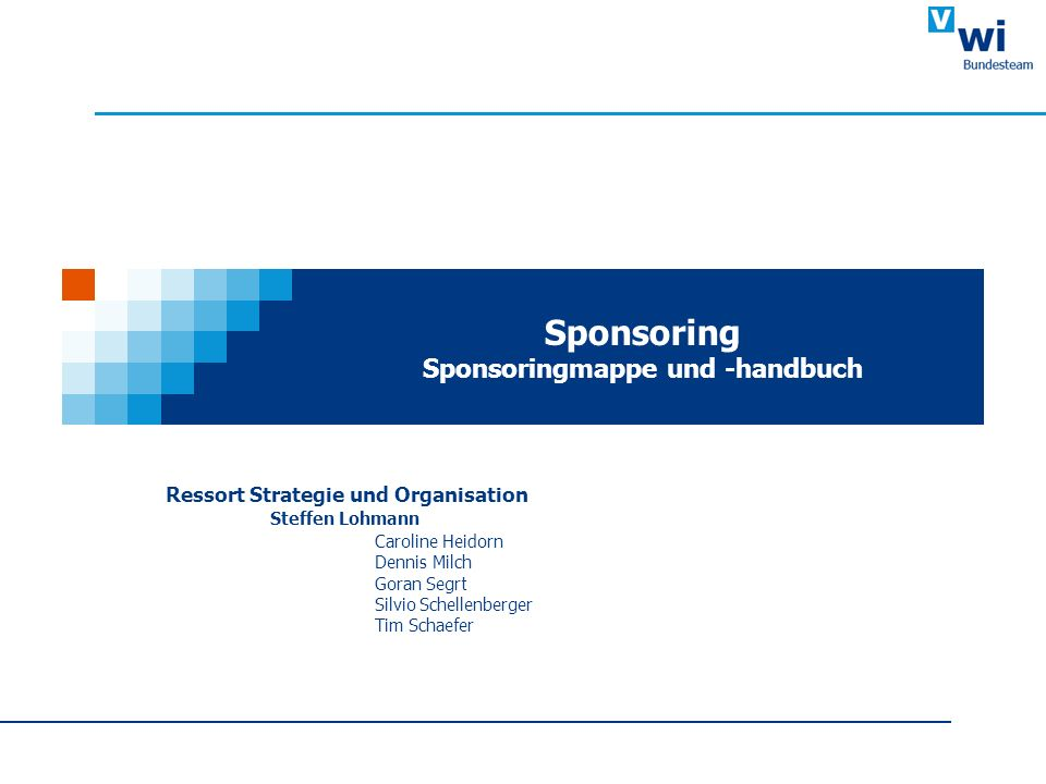 Ressort Strategie und Organisation Steffen Lohmann Caroline Heidorn Dennis Milch Goran Segrt Silvio Schellenberger Tim Schaefer Sponsoring Sponsoringm