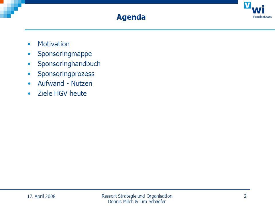 Agenda Motivation Sponsoringmappe Sponsoringhandbuch Sponsoringprozess Aufwand - Nutzen Ziele HGV heute 17. April 2008 2Ressort Strategie und Organisa