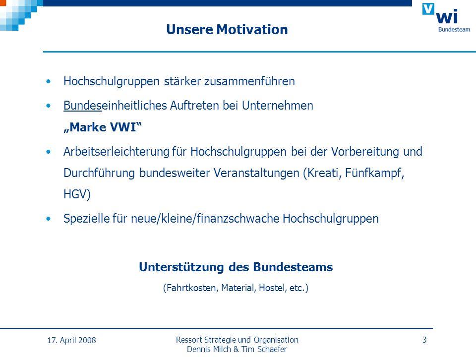 Unsere Motivation Hochschulgruppen stärker zusammenführen Bundeseinheitliches Auftreten bei Unternehmen Marke VWI Arbeitserleichterung für Hochschulgr