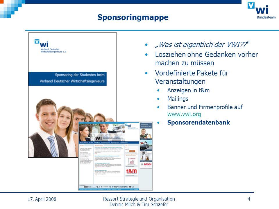 Sponsoringmappe 17. April 2008 Ressort Strategie und Organisation Dennis Milch & Tim Schaefer 4 Was ist eigentlich der VWI?? Losziehen ohne Gedanken v