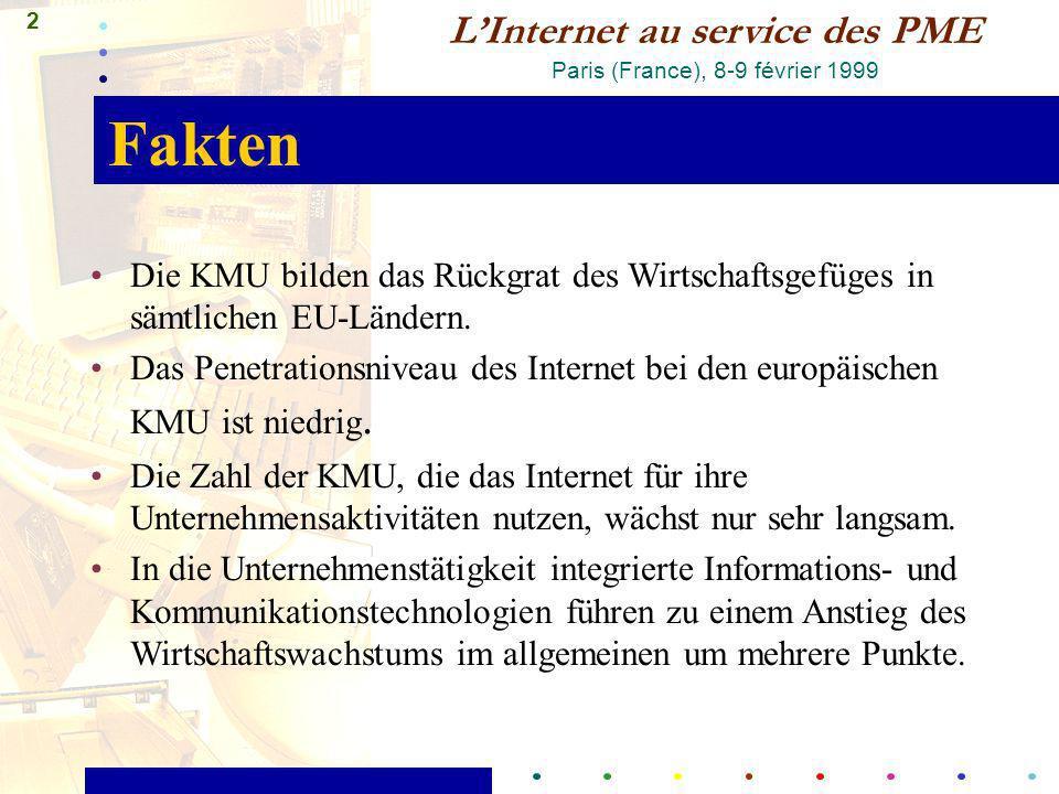 2 LInternet au service des PME Paris (France), 8-9 février 1999 Fakten Die KMU bilden das Rückgrat des Wirtschaftsgefüges in sämtlichen EU-Ländern. Da