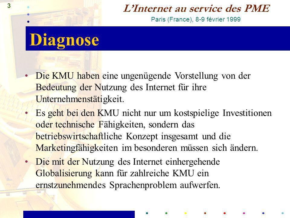 3 LInternet au service des PME Paris (France), 8-9 février 1999 Diagnose Die KMU haben eine ungenügende Vorstellung von der Bedeutung der Nutzung des Internet für ihre Unternehmenstätigkeit.