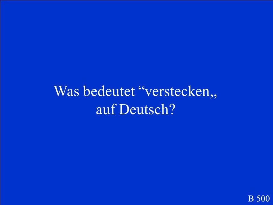 Was bedeutet verstecken,, auf Deutsch? B 500