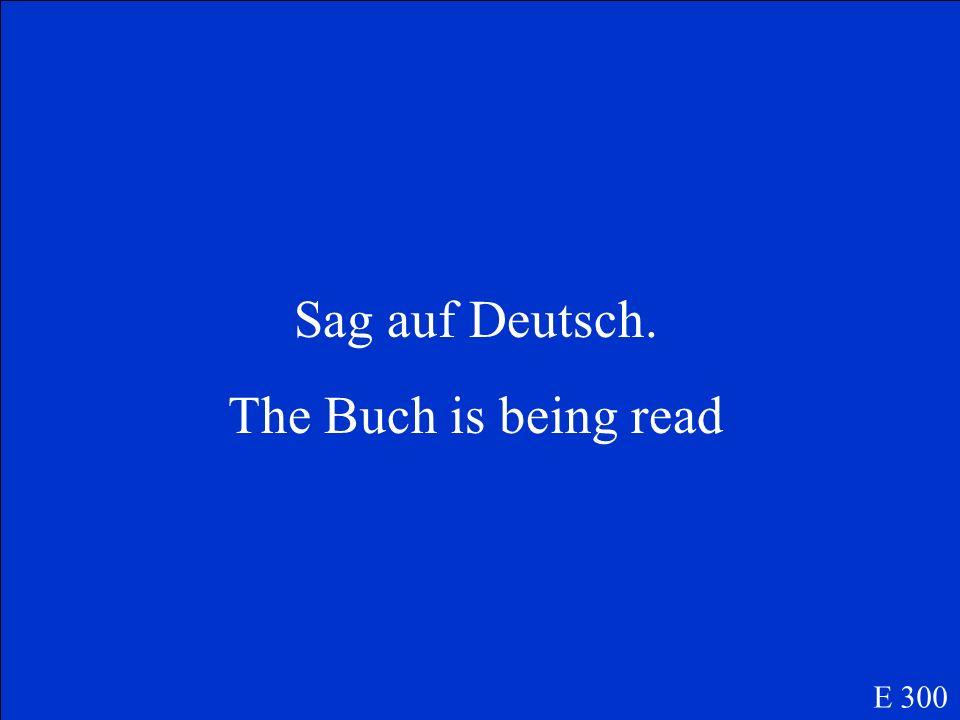 Sag auf Deutsch. The Buch is being read E 300
